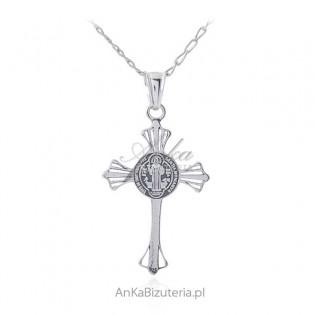 Krzyż Św. Benedykta srebrny oksydowany