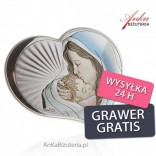 Silver picture Madonna with a baby in the heart 10.5 cm * 9 cm