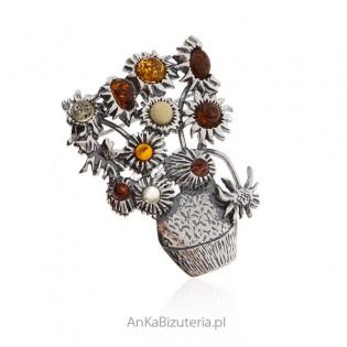 Broszka srebrna z bursztynem  - Wazon z kolorowymi makami
