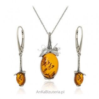 Komplet biżuteria srebrna z naturalnym bursztynem w kolorze koniak