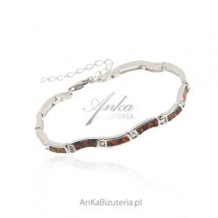 Biżuteria srebrna z opalem Bransoletka srebrna z czerwonym opalem