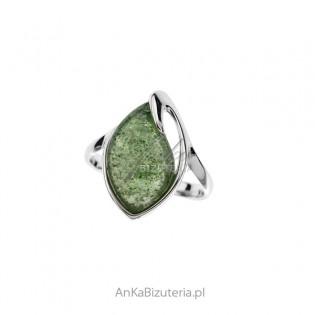 Pierścionek srebrny z zielonym awenturynem