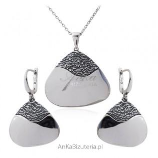 Komplet biżuteria srebrna oksydowana MADAGASKAR