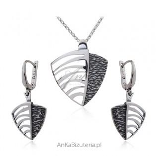 Komplet biżuterii srebrny oksydowany  ŻAGLÓWKA