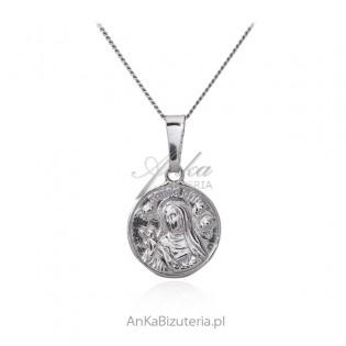 Srebrny medalik Św Rita okrągły