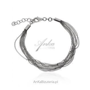 Srebrna bransoletka rodowana z łańcuszków   - biżuteria włoska