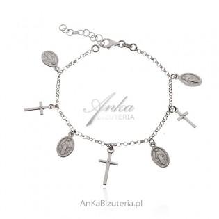 Bransoletka srebrna z medalikami Matka Boska Cudowna i krzyżyki