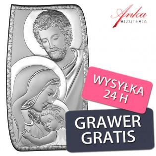 Dewocjonalia - Obrazek srebrny Święta Rodzina 13,5 cm/24 cm