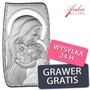 Obrazek srebrny Madonna z dzieciątkiem  13,5 cm * 24 cm