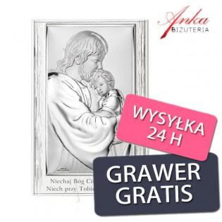 Obrazek srebrny Jezus tulący dziecko na białym drewnie 11,5 cm*17,5 cm