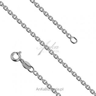 Łańcuszek srebrny ankier rodowany 0,6 - 55 cm i 60 cm