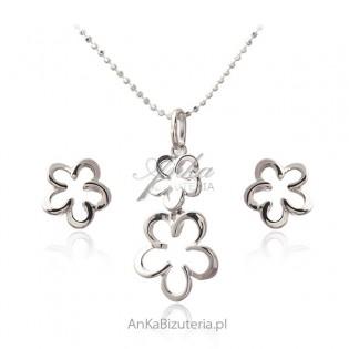 Komplet biżuteria srebrna KWIATKI