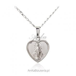 Medalik srebrny MATKA BOSKA CUDOWNA w sercu