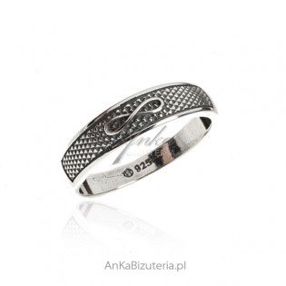A silver ring oxidized with infinity