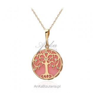 Srebrna zawieszka pozłacana  z różowym agatem i cyrkoniami  - drzewko szczęścia