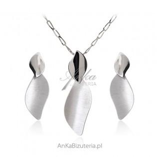Elegancka biżuteria - Komplet biżuteria srebrna satynowana