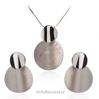 Biżuteria srebrna Piękny komplet  satynowany
