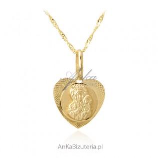 Złoty komplet pr. 585 Matka Boska Częstochowska z łańcuszkiem