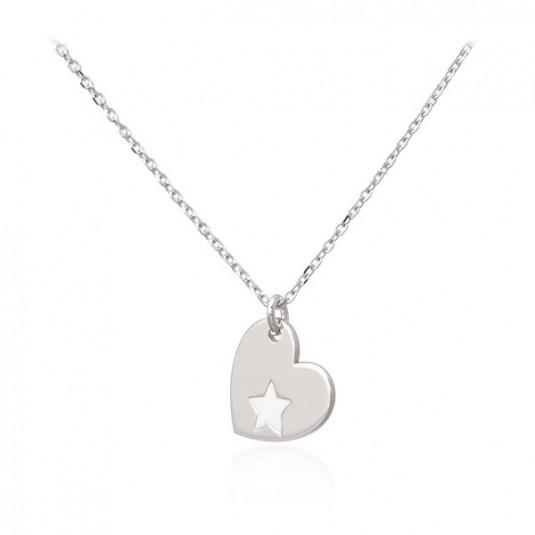 Srebrny naszyjnik GWIAZDA W SERCU -modna biżuteria srebrna włoska
