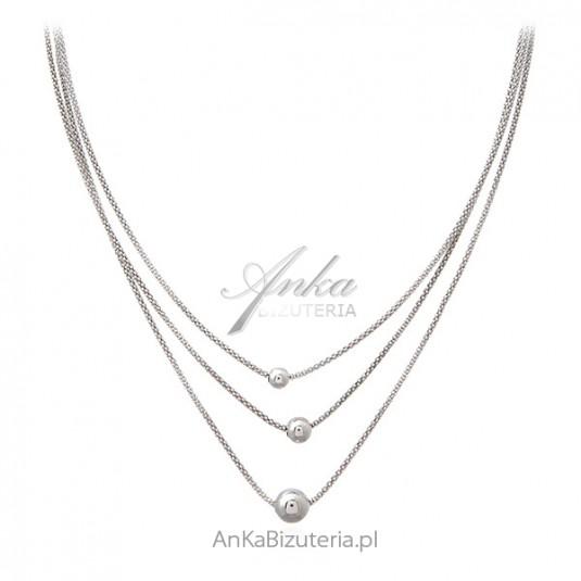 Srebrny naszyjnik z kulkami Modna biżuteria srebrna