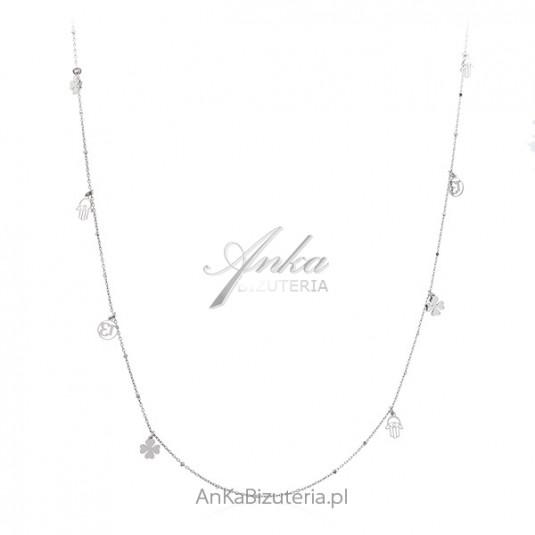 Srebrny naszyjnik biżuteria NA SZCZĘŚCIE - długi