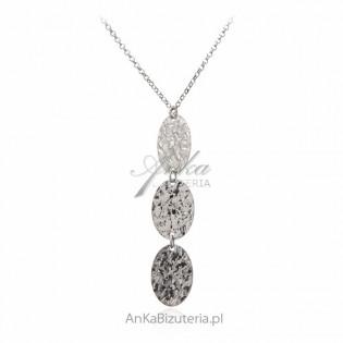 Srebrna biżuteria -  naszyjnik karbowane srebro