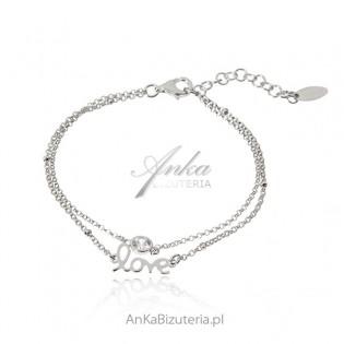 Srebrna bransoletka LOVE z białą cyrkonią