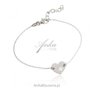 Srebrna bransoletka GWIAZDA W SERCU  - modna biżuteria włoska