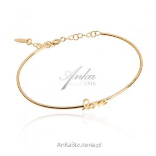 Piękna bransoletka srebrna pozłacana LOVE   biżuteria włoska