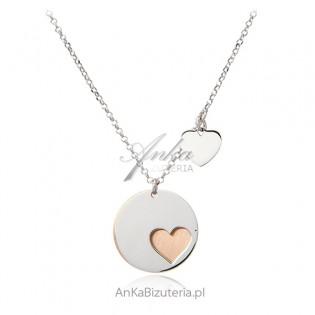 Srebrny naszyjnik z serduszkami pozłacany różowym złotem