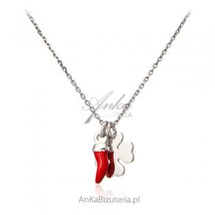 Biżuteria srebrna na szczęście - Naszyjnik z koniczynką i czerwonym Good Luck
