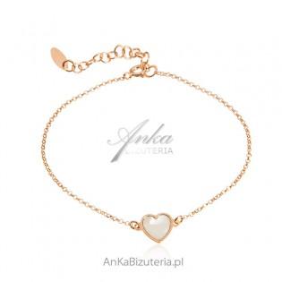 Bransoletka srebrna pozłacana różowym złotem SERDUSZKO z masą perłową