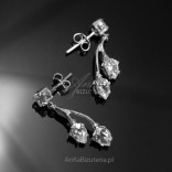 Silver earrings with zircons - silver delicate leaves