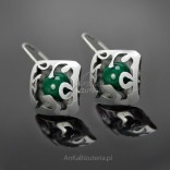 Silver earrings with natural stone - Malachite