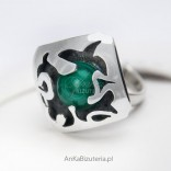 Silver ring with Malachite - silver 925
