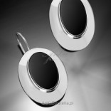 Silver, large earrings with black onyx.