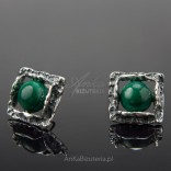 Silver earrings oxidized with malachite