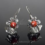 Silver earrings oxidized with coral - CORAL FALL