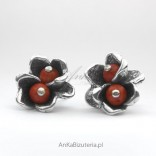 Silver earrings FLOWERS with coral