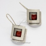 Unique Jewelry Silver Earrings with coral