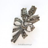 Silver Jewelry-Brooch with marcasites