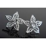 Earrings Openwork FLOWERS with cubic zirconia.