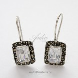 Silver earrings with zircon and marcasite in the shape of a rectangle