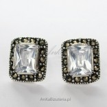 Silver earrings with zircon and marcasite-rectangles