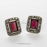 Silver earrings with pomegranates and marcasites - rectangles