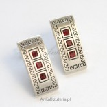 Silver earrings with pomegranates in a Greek pattern