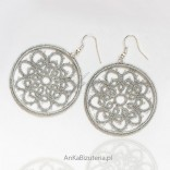 Earrings made of silver threads, handicraft with tatting. ORIGINAL
