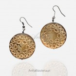 Earrings made of gold threads ONYKS Striped