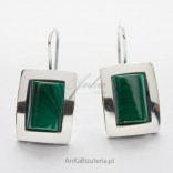 Silver earrings with malachite - rectangle on the hook