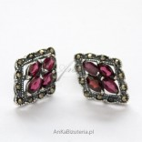 Earrings made of pomegranates and marcasites. Silver 925.